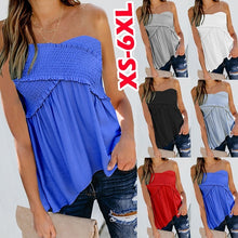 Load image into Gallery viewer, Summer Fashion Ladies Ruffle Tops Pure Color Shirts Women Casual T-shirt Sleeveless Blouses Stretch Tube Top Tank Tops Plus Size XS-6XL