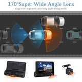 4inch HD 1080P Three Lens Vehicle Car DVR Dash Cam Camera Video Recorder with Night Vision