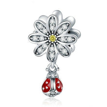 Load image into Gallery viewer, NEW 4pcs Set DIY Fashion 925 sterling Silver Dazzling Heart tree flower beetle pendant panda European and American CZ Charm Crystal Big Hole Spacer Beads Pendant Fit Necklace Bracelet DIY Jewelry Making Hot