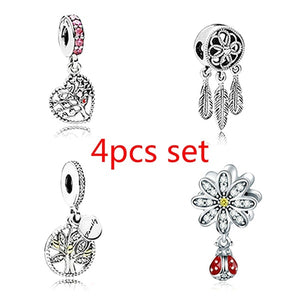 NEW 4pcs Set DIY Fashion 925 sterling Silver Dazzling Heart tree flower beetle pendant panda European and American CZ Charm Crystal Big Hole Spacer Beads Pendant Fit Necklace Bracelet DIY Jewelry Making Hot