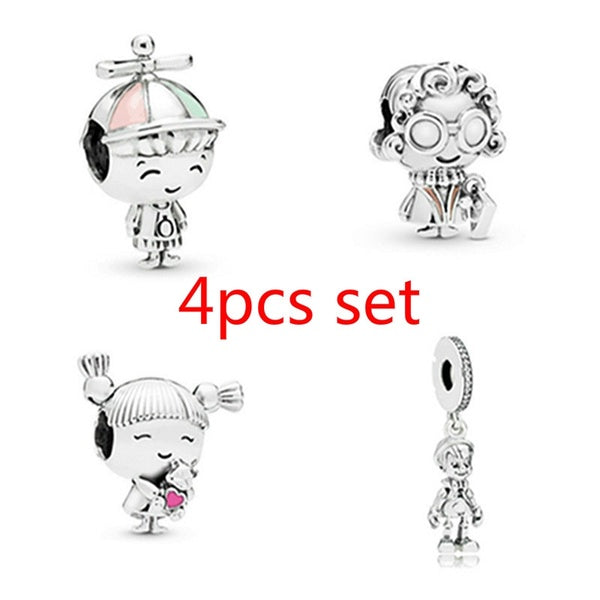 NEW 4pcs Set DIY Fashion 925 sterling Silver Dazzling Boy  grandmother pendant panda European and American CZ Charm Crystal Big Hole Spacer Beads Pendant Fit Necklace Bracelet DIY Jewelry Making Hot