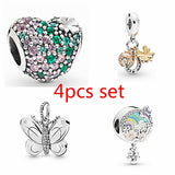 NEW 4pcs Set DIY Fashion 925 sterling Silver Dazzling Love Heart Beetle flower butterfly pendant panda European and American CZ Charm Crystal Big Hole Spacer Beads Pendant Fit Necklace Bracelet DIY Jewelry Making Hot