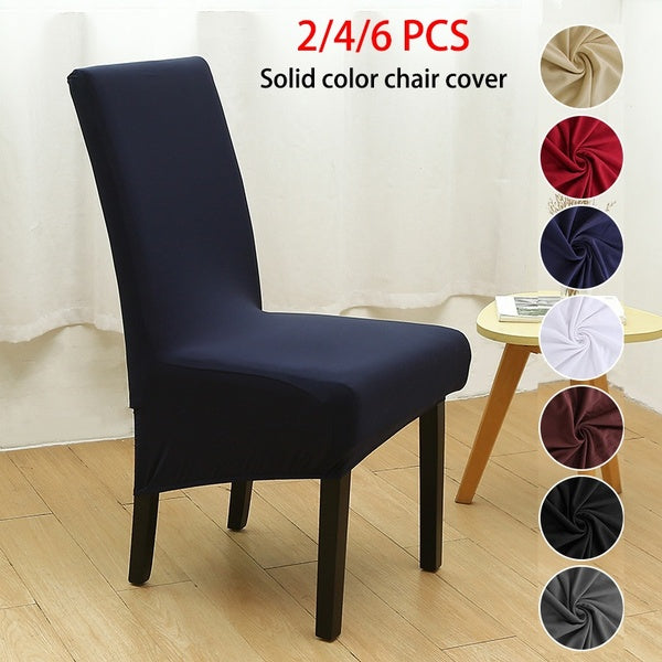 2/4/6Pcs Home Living Removable Wash Simple Stretch Dining Chair Covers Spandex Elastic Chair Protector Sets