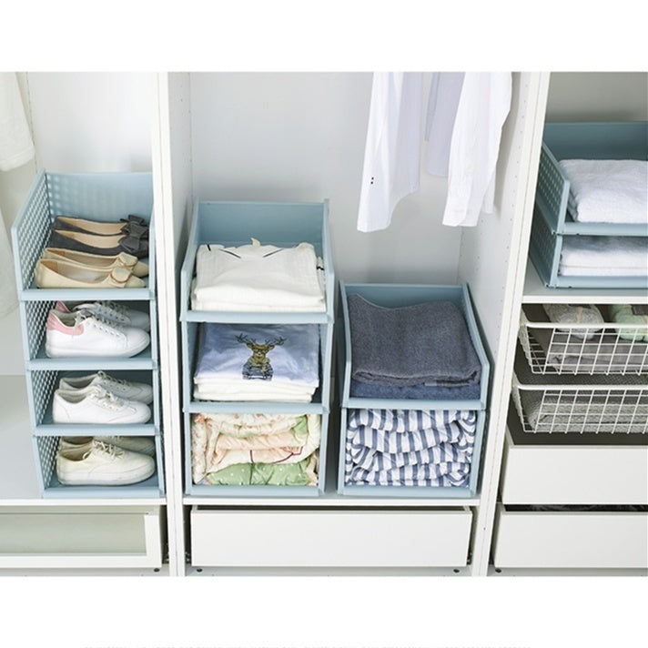 3 Colors Home Wardrobe Closet Clothing Clothes Organizer Multilayer Storage Dorm Room Layered Shelf Bedroom Cabinet Storage Shelf Rack Box