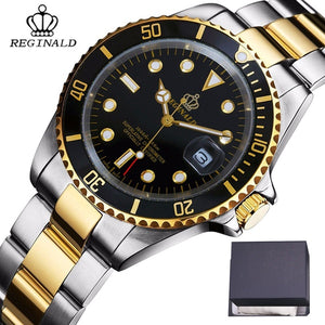REGINALD Mens Gold Watch Sapphire Glass Stainless Steel Band  Business Quartz Uhren Herren With Gift Box