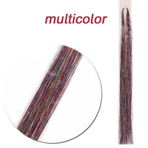 Holographic Sparkle Hair Tinsel Bling Hair Synthetic Hair Extension Glitter Rainbow For Girls And Party 90cm 140 Strands/pcs Highlight