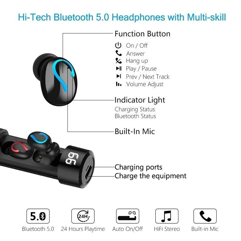 [Blueototh5.0, 5D HIFI] TWS Wireless Earphones Waterproof Sport Bluetooth Headphones Noise Cancellation In Ear Mini Earbuds Bluetooth Headset with Digital Display Charging Case Mobile Power Bank