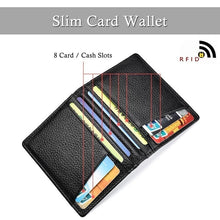 Load image into Gallery viewer, 2019 Ultra Slim Front Pocket Wallet Bifold Mens Wallet with 8 Card Slots Minimalist Travel Wallet Flip ID Window Slots for Driver License ID Cards Business Wallet