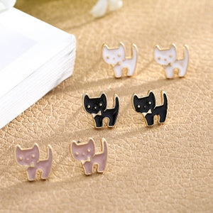 Cute lady kitten earrings fashion animal jewelry girl heart to send girlfriend