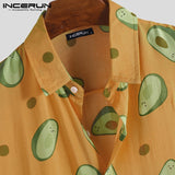 Men's Short Sleeve Shirt Avocado Shirt Loose Cool Streetwear Male Tops Summer