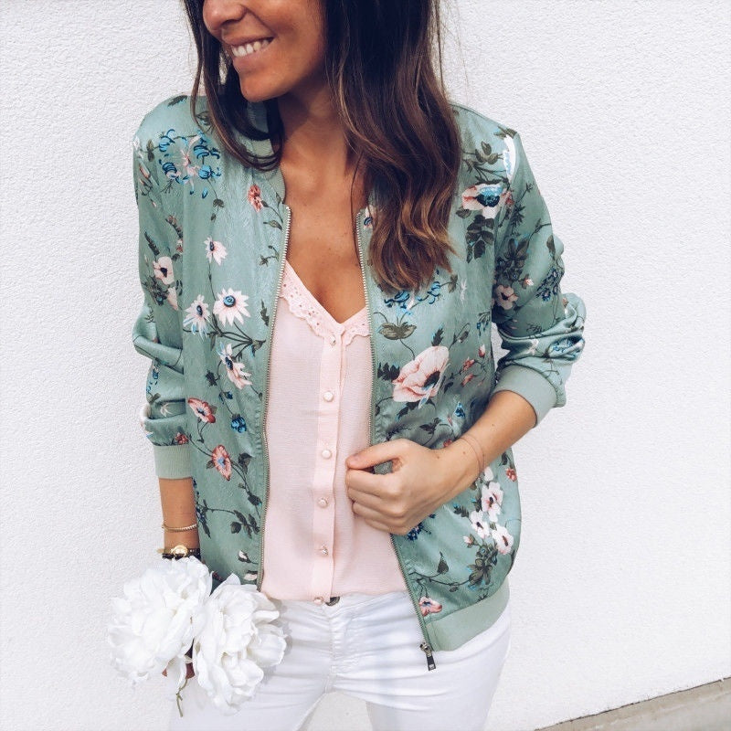 New Fashion Womens Retro Floral Zipper Bomber Jacket Baseball Casual Coat Female Tops