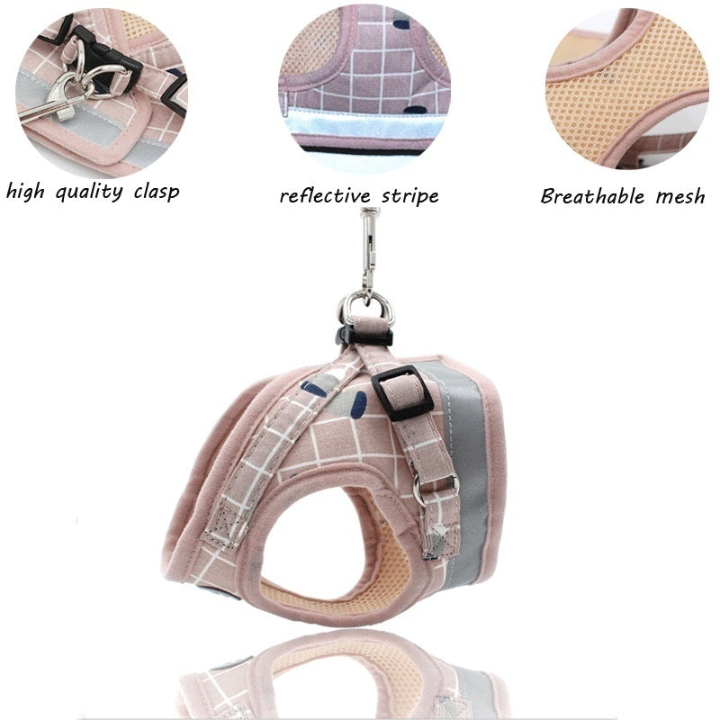 Pet Dog Cat Harness with Leash Adjustable Vest Walking Supplies Soft Breathable Plaid Collar Puppy for Small Medidum Large Dogs