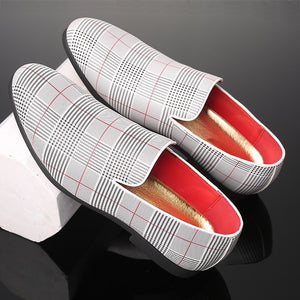 New Mens Soft Driving Shoes Peas Shoes Casual Set Foot Shoes Lattice Leather Shoes Wedding Loafers