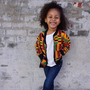 2-8Y Kids Baby Printed Jacket Fashion African Nation Style Coat Kids Dashiki Bomber Aviator Jacket Unisex Girls and Boys Autumn Cardigan Jackets with Pockets