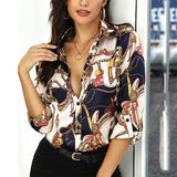 Women Summer Chain Element Printed Shirt Long Sleeve Button Blouse