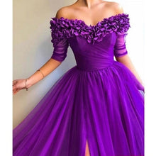 Load image into Gallery viewer, 2019 Women's Off The Shoulder Evening Dress Half Sleeve Sweetheart Neckline Dresses Maxi Dress Chiffon Wedding Dress Long Prom Dress Plus Size Formal Dress S-5XL