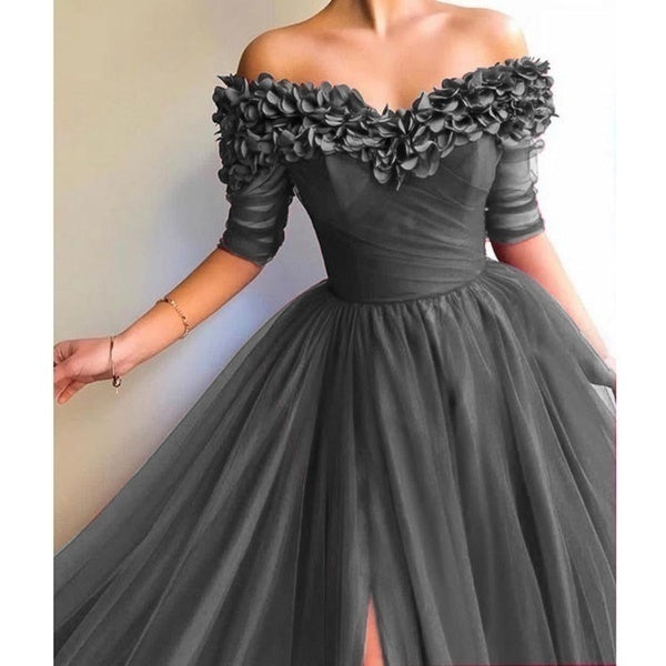 2019 Women's Off The Shoulder Evening Dress Half Sleeve Sweetheart Neckline Dresses Maxi Dress Chiffon Wedding Dress Long Prom Dress Plus Size Formal Dress S-5XL
