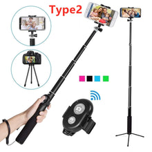 Load image into Gallery viewer, 2 Style GO Stainless Steel Bluetooth Cell Phone Selfie Stick Monopod Tripod For Iphone