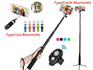 2 Style GO Stainless Steel Bluetooth Cell Phone Selfie Stick Monopod Tripod For Iphone
