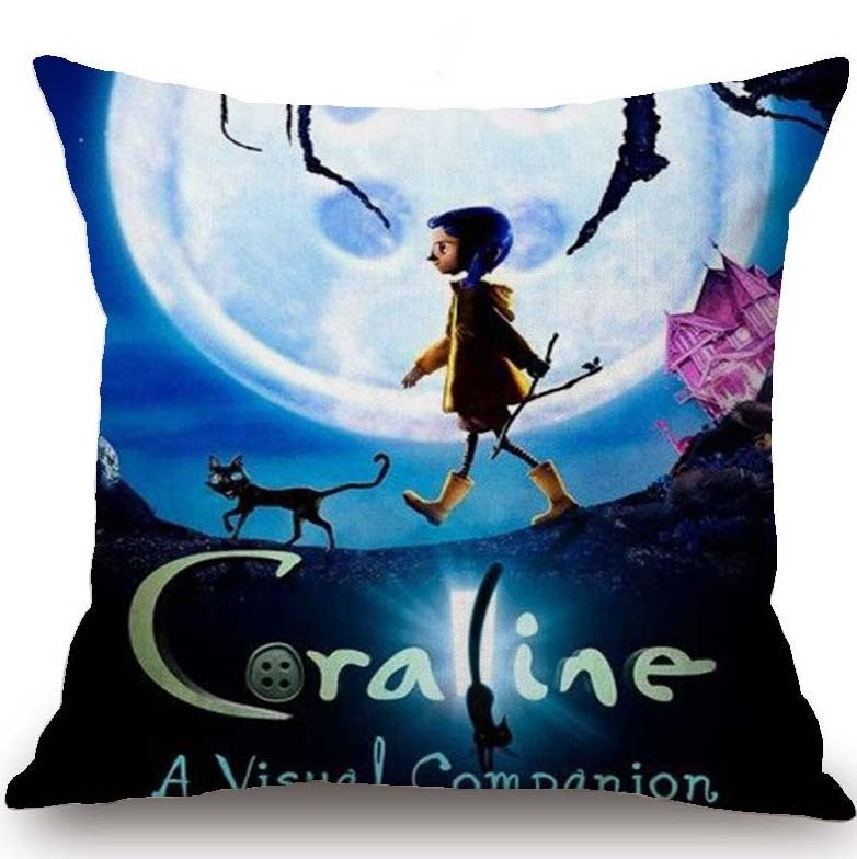 Cartoon Coraline Pillow Case Pillow Cover Bedroom Throw Pillow Case Oreiller Kissen Almofada Cushion Cover