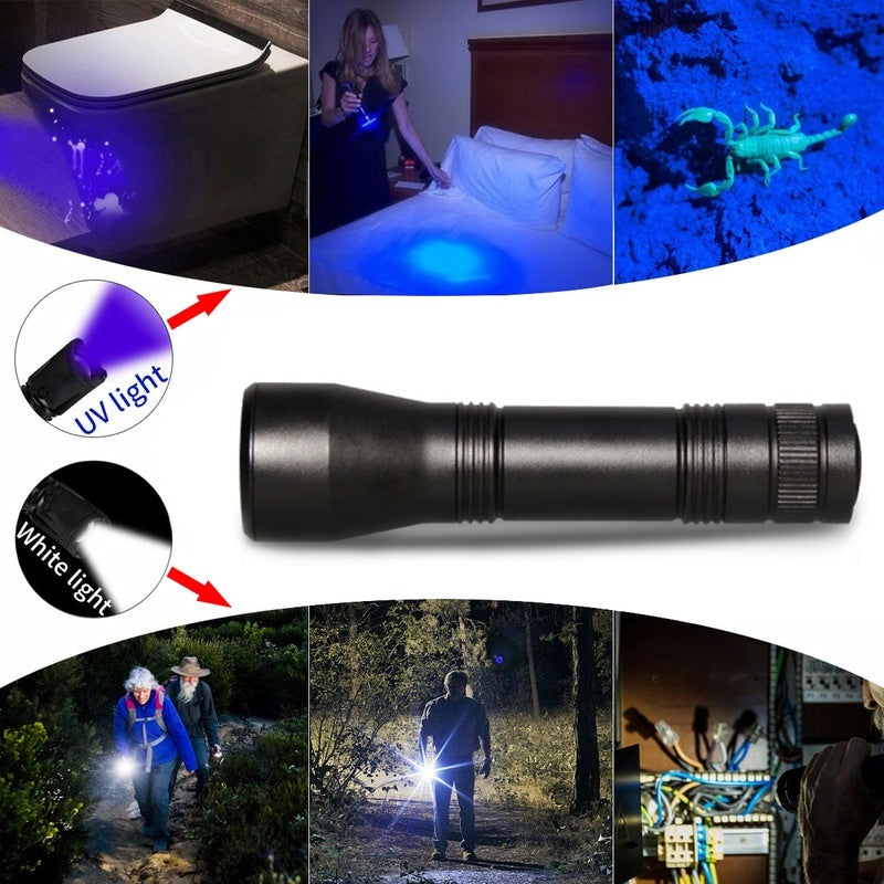 8000lum LED UV Flashlight UV Light LED Torch Lanterna Zoomable 395nm Ultra Violet Light Backlight 18650 Battery(not Include)