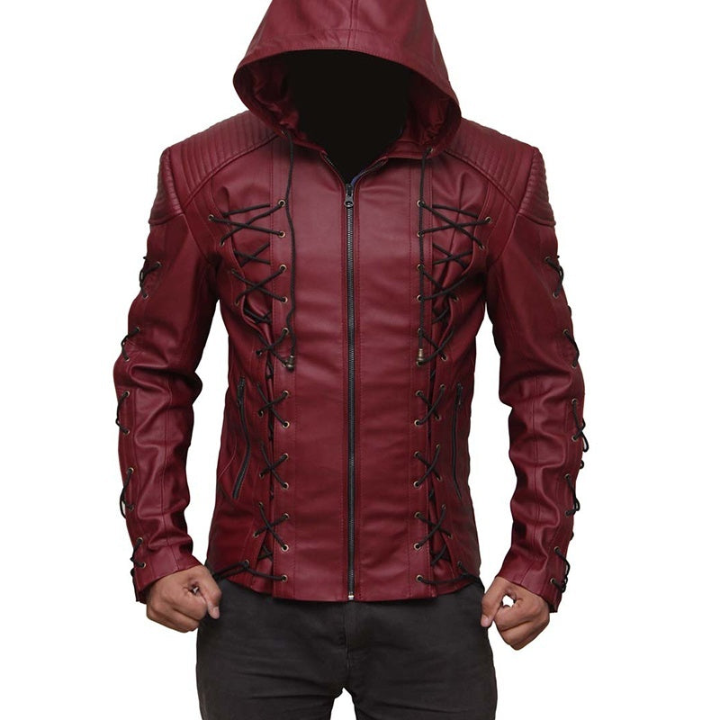 New Autumn and Winter Men's Fashion Hoodie Leather Jacket Warm Jacket Rope with Decorative Classic Hooded Jacket Windproof