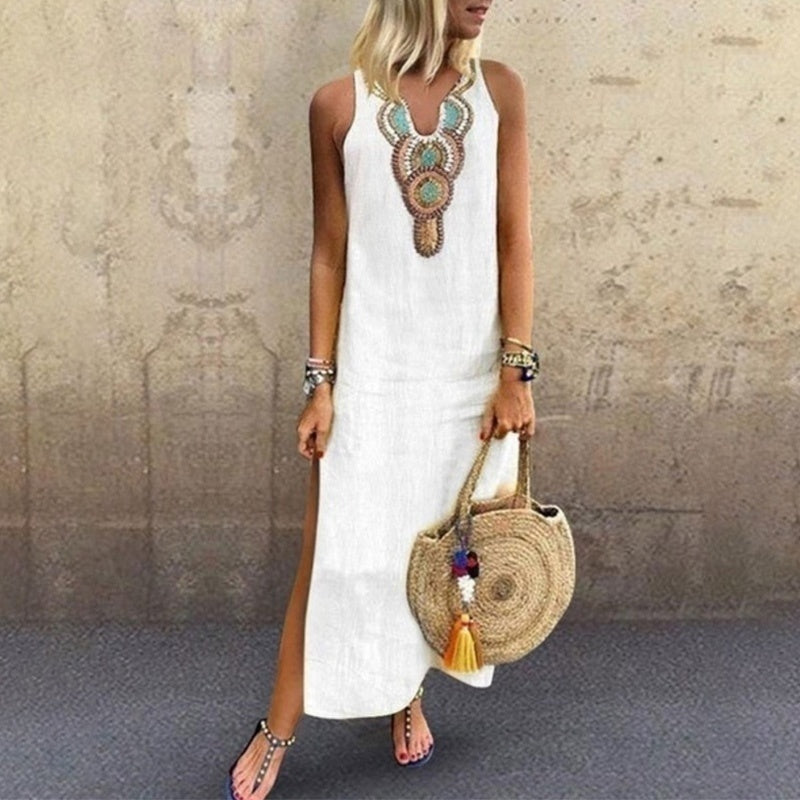 Women's Fashion Casual Summer Printed Sleeveless Dress Loose Long Dress