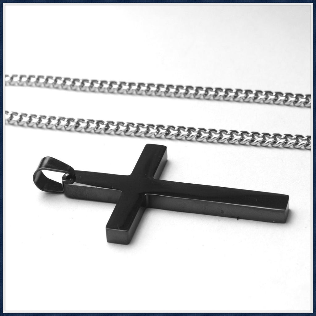 Titanium steel cross men's jewelry necklace