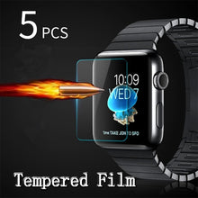 Load image into Gallery viewer, 5pcs Premium LCD Clear Guard Shield Film 9H Real Tempered Glass Screen Protector For iPhone iWatch Smart Watch 38/40/42/44mm