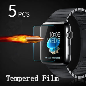 5pcs Premium LCD Clear Guard Shield Film 9H Real Tempered Glass Screen Protector For iPhone iWatch Smart Watch 38/40/42/44mm