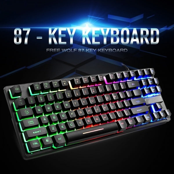1*87 Keys USB Mechanical E-sports Gaming Keyboard Backlit For Notebook New