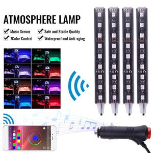 36/72LED RGB Car Interior Decorative Floor Atmosphere Strip Light Charger APP Controlled Lamp