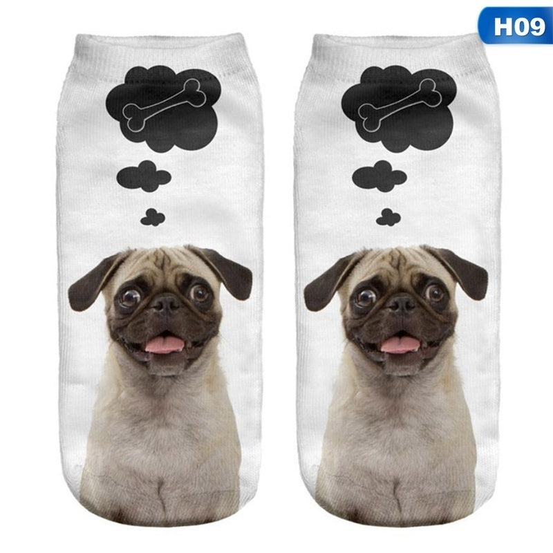 1Pair Women Low Cut Ankle Socks Funny Dog 3D Printing Sock Cotton Hosiery Printed Socks
