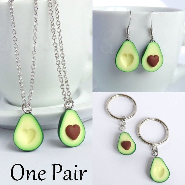 1 Pair Of Green Avocado Bff Friendship Necklace Pendant Keychain Set Hearts Asymmetric Couple Lovers Girlfriend Boyfriend Avocado Valentines Day Gifts