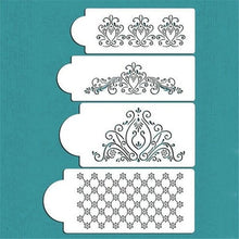 Load image into Gallery viewer, 4Pcs/set Floral Lace Cake Border Molds DIY Cake Stencils for Wedding Party Cake