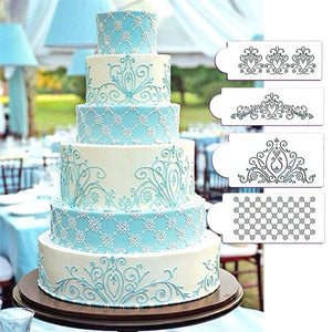 4Pcs/set Floral Lace Cake Border Molds DIY Cake Stencils for Wedding Party Cake