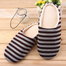 Load image into Gallery viewer, Striped Cloth Bottom Universal Couple Lovers Women Men Winter Warm Slippers Indoor Floor Shoes Non Slipping Home Shoes