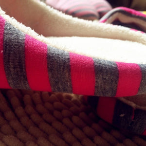 Striped Cloth Bottom Universal Couple Lovers Women Men Winter Warm Slippers Indoor Floor Shoes Non Slipping Home Shoes