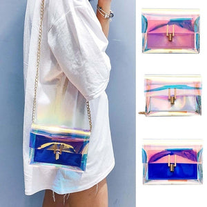 Women's Transparent Bag Transparent PVC Jelly Small Handbag Messenger Bag Girl One Shoulder Bags URU