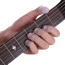 Load image into Gallery viewer, 12 Pcs/Set Silicone Guitar Fingerstall Ukulele Thumb Pick Finger Protective Sleeve Finger-cot Guitar Tool for New Learner Beginner