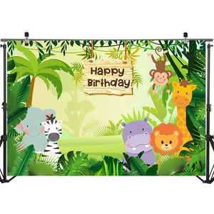Mehofoto Jungle Safari Photography Backdrop Cartoon Animals Forest Kids Birthday Party Photo Booth Backdrop for Event Banner 7x5ft Vinyl Cake Table Decorations Background