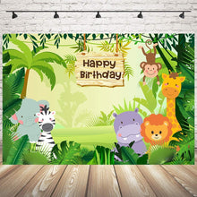 Load image into Gallery viewer, Mehofoto Jungle Safari Photography Backdrop Cartoon Animals Forest Kids Birthday Party Photo Booth Backdrop for Event Banner 7x5ft Vinyl Cake Table Decorations Background