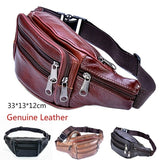 Genuine Leather! Men's First Layer Cowhide Mobile Phone Pockets Large-capacity Sports Bum Bag Diagonal Package