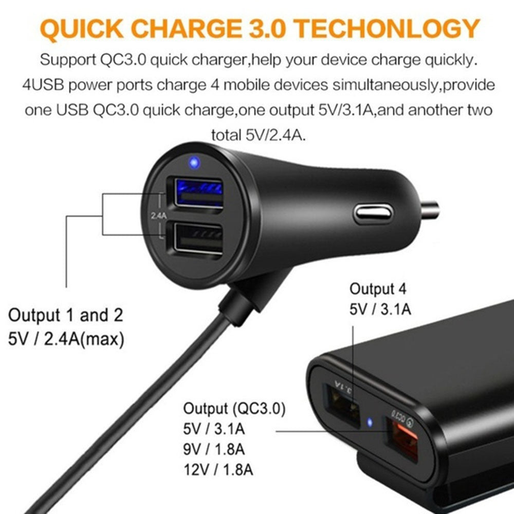 Universal 4 Ports USB Car Charger Front Seat Back Seat QC3.0 Quick Charging USB Adapter for Car Charger USB Fast Charger