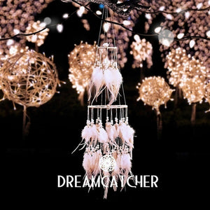 LED Light Dream Catcher White Feather Dreamcatchers Night Light Hanging Diy Decoration Girls Bedside Room Decor