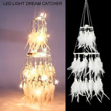 Load image into Gallery viewer, LED Light Dream Catcher White Feather Dreamcatchers Night Light Hanging Diy Decoration Girls Bedside Room Decor