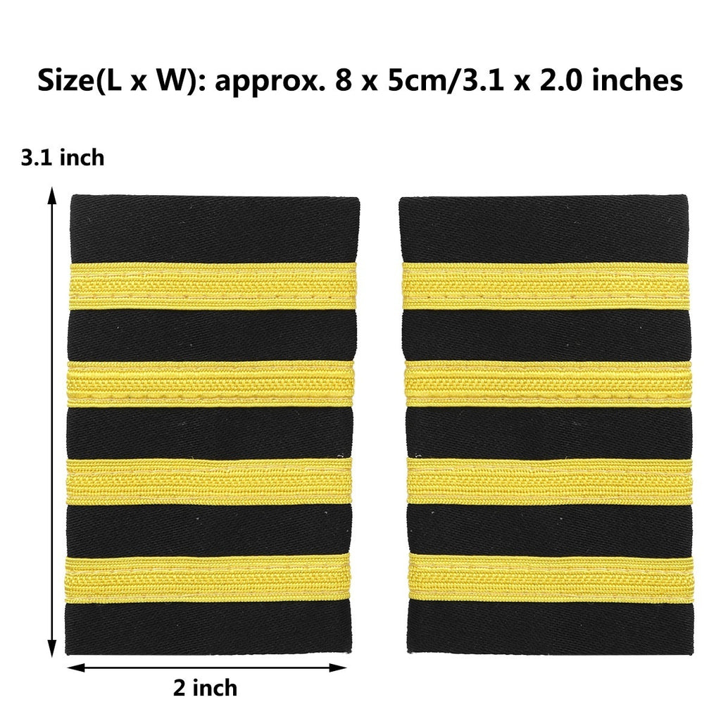 1 Pair Airline Pilot Epaulets Captain Shoulder Mark Insignia Halloween Cosplay Pilot Epaulette