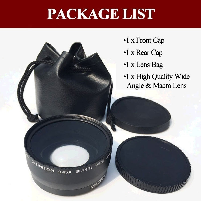 0.45X52mm DSLR Camera HD Wide Angle Lens fit for Pentax Canon Sony Nikon D40 D60 D70s D3000 D3100 D5000
