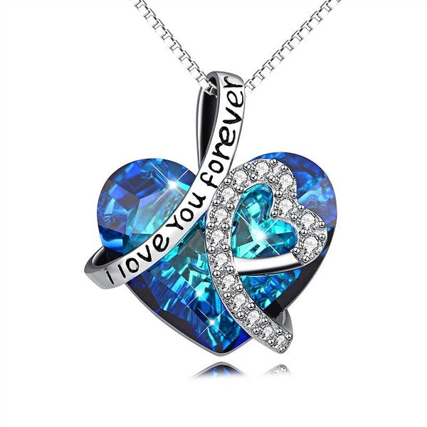 925 Sterling Silver' I Love You Forever 'Crystal Heart Pendant Necklaces for Woman Blue Crystal Choker Necklace for Bridal Wedding Chain Necklace Valentine's Day Gifts