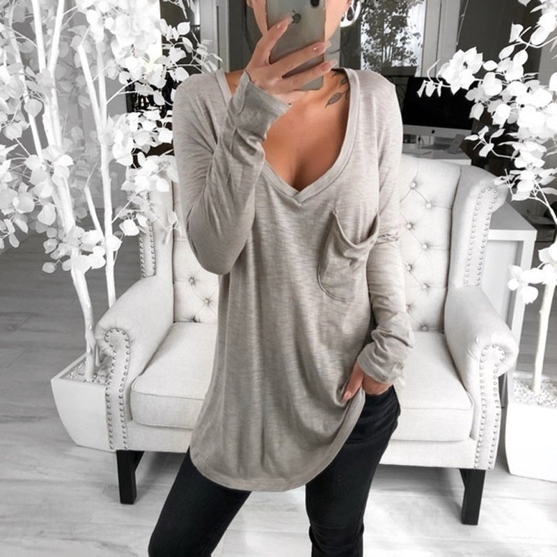 Womens Casual Long Sleeve V-collar Loose Pocket Bottom T-shirt Plus Size Tops